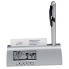 Stylish desk clock with calendar,  pen and business card holder.