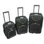 CrisMa Luxury 3 Trolley-Set in black & silver with built in lock