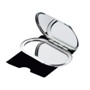 Metallic dual mirror set with standard and magnifying mirror