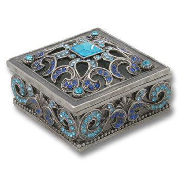 BLUE TRINKET BOX  SQUARE