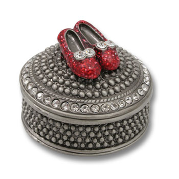 DIAMOND TRINKET BOX  ROUND W/RED SHOES ON LID