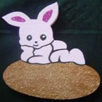 Pink bunny on egg - 20cm