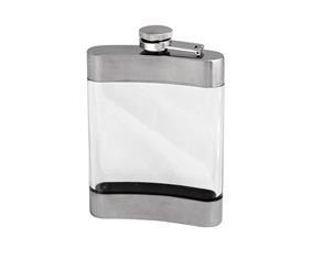 MSS+TRANSPARENT HIP FLASK W/CAPTION LID