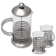 MSS + GLS COFFEE PLUNGER (600ml) + 2 GLS COFFEE MUGS (220ml) IN
