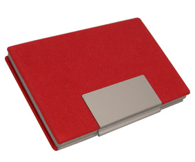 RED PU ALUMINIUM BUSINESS CARD HOLDER W/SS PLATE