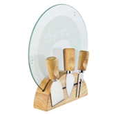 5Pc Ss Cheese Knife Set In Rubber Wood Storage Stand