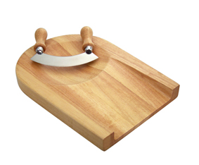 Wooden Chopping Board With Mezzaluna