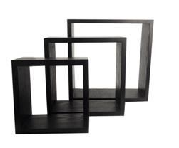 BLACK WOOD( 3PCS) SQUARE BOX WALL SHELVING (BLACK)
