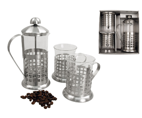 "3Pc Matt Ss & Glass Plunger Set""Cube"