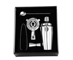 Stainless Steel 5 Pc Cocktail Set W/550Ml Cocktail Shaker