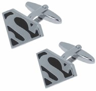 "Silver And Black Cufflinks In Presentation Box ""Superman"""