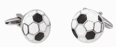 Deluxe cuff link set in gift box-soccerball design