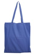 Combed cotton shopping bag with shoulder strap-Dark blue