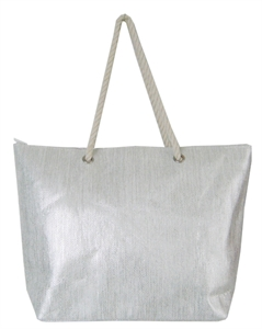 Silver Bling Shopping / Beach Bag With Natural Cotton Rope Shoul