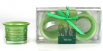 2Pc Frosted Candle Set Green