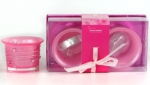 2Pc Frosted Candle Set Pink