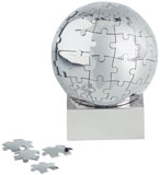 "Stainless Steel 3D ""Globe"" world puzzel"