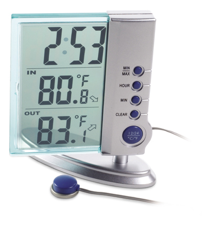Crystal Inside Outside weather station clock with batteries