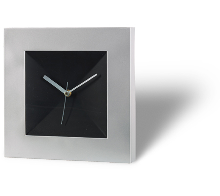 "Aluminium + Black wall clock ""Square"""