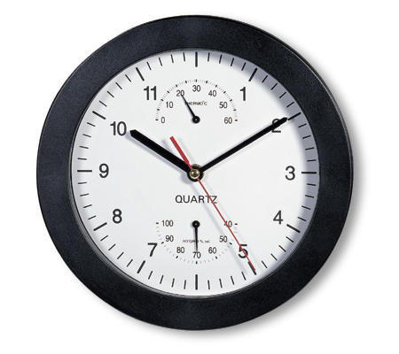 Black Wall clock with thermoter + hygrometer