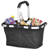 Collapsable shopping basket with aluminium frame