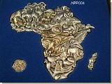Puzzle Of Africa - 36 Pieces. Pewter - Big 5 Brass plated in woo