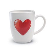 Ceramic mug with heart decoration on both side. 300ml capacity.