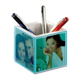 Penholder desk clock, thermometer and picture frame        -Avai