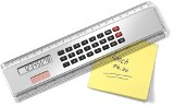 20cm ruler with a solar powered eight digit calculator. - Availa