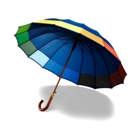 Classic umbrella with 16 panels, wooden shaft and handle and met