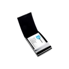 Metal business card holder covered in a stitched PU material wit