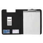 Bonded leather folder with an eight digit calculator and three i