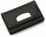 Bonded leather business card holder with a velour interior and m
