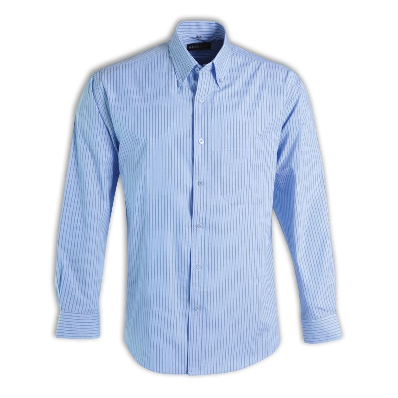 Cameron Shirt L/S - Stripe 6 - Avail in: Medium blue, Sky, Charc