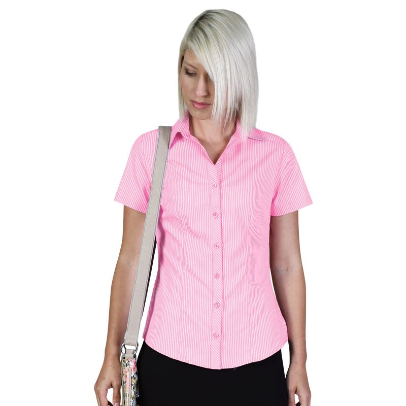 Donna Blouse S/S - Stripe 5 - Avail in: Pink, Sky, Stone