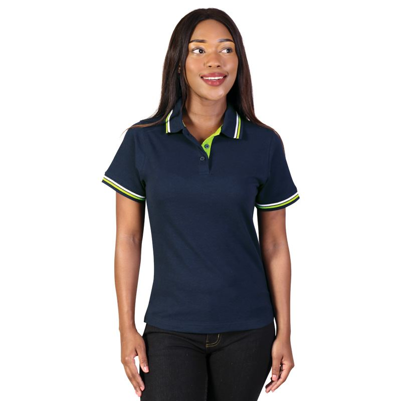 Ladies Raised Ridge Polo - Avail in: Lime/Navy/White, Navy/Lime/
