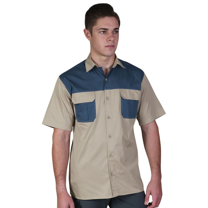 Mens Savannah Bush Shirt - Avail in: Khaki/Stone, Stone/Khaki, O