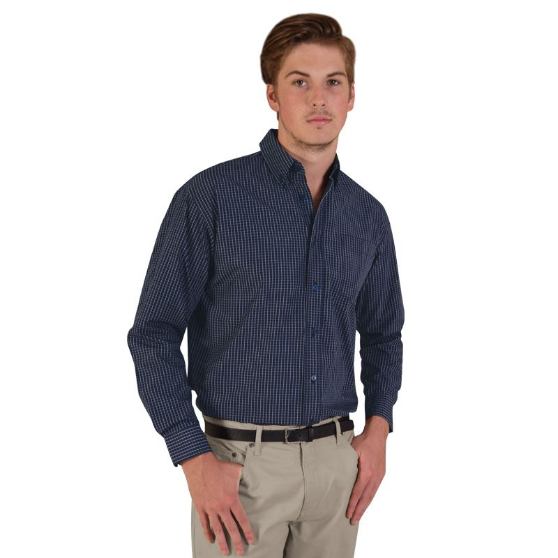 Mens  Long Sleeve Three-tone Small Check Shirt - Avail in: Navy,