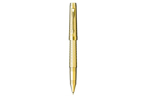 Parker Premier Deluxe Black Gold Trim Roller Ball
