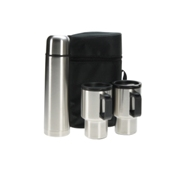 3 Pce Thermal Flask & Mugs Travel Set