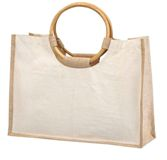 Jute Shopping Bag With Bamboo Handles