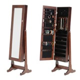 Jewelry Cabinet - Brown, White, Black