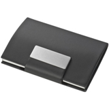 Stylish business PU card holder with magnetic closure.