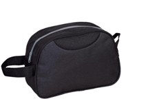 Polyester toiletry bag with carry loop.