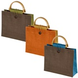 Eco-Friendly jute bag with bamboo handle and closing cord