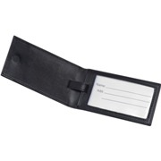 PU luggage tag with black-lacquered metal plate