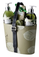 Ladies gift set in a re-usable decorative basket. Features bambo