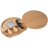 Rubber wood cheese set - cutting board and integrated knives.