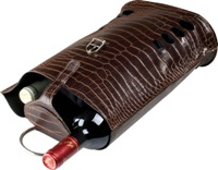 Croc design wine carrier for 2 bottles. Features a padded bottle