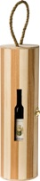 "Wooden wine carrier with look-in ""bottle-shaped"" window"
